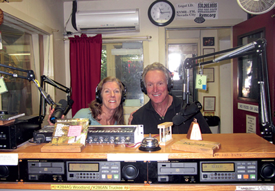 Landon and Diane during interview at KVMR radio for Falling in Love Backwards